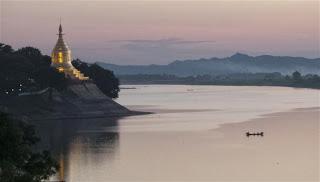 Sunset view over the Ayeyarwady