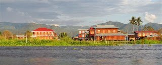 Expensive resorts on Inle Lake shore